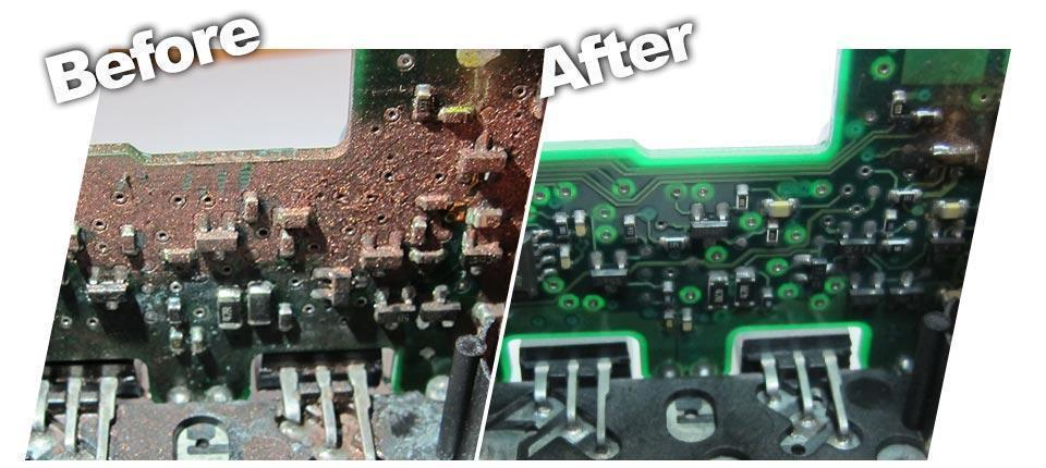 before and after cleaning circuit board