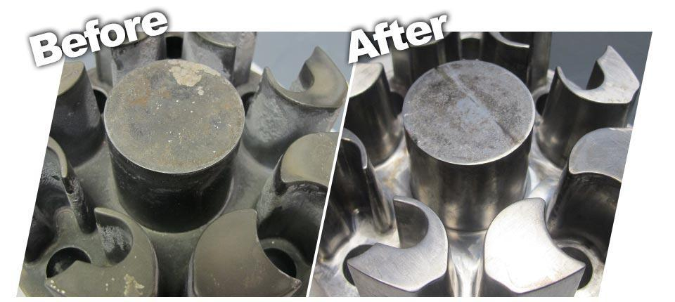 before and after cleaning injection mould