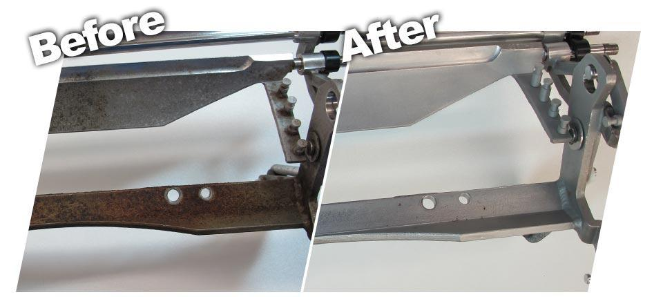 before and after cleaning steel